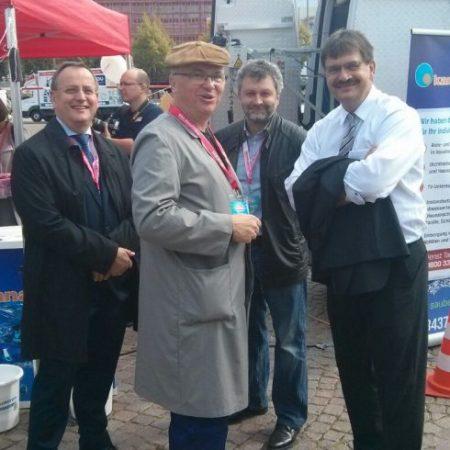 Jörg Heynoldt SBA Leipzig, Ronals Pohle MdL, Thomas Graupner BSZ7, Ralf Berger SBA auf dem Tag de Handwerkes